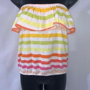 VaVa by Joy Han Rainbow Striped Cropped Top